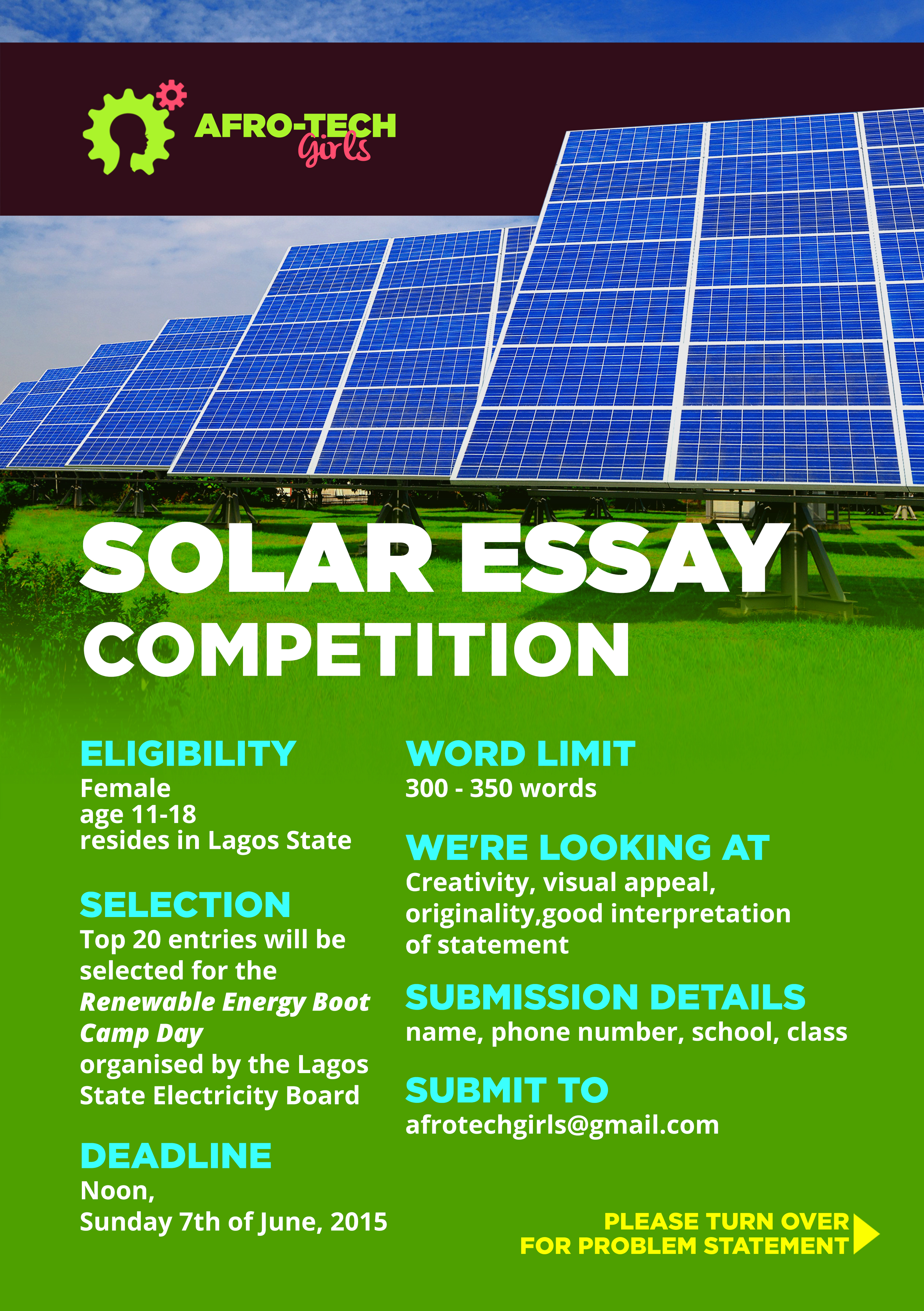 solar power essay outline Final argumentative essay kelly gluesing mary lou hall many solar power plants use turbines to generate the electricity after captured by the panels.